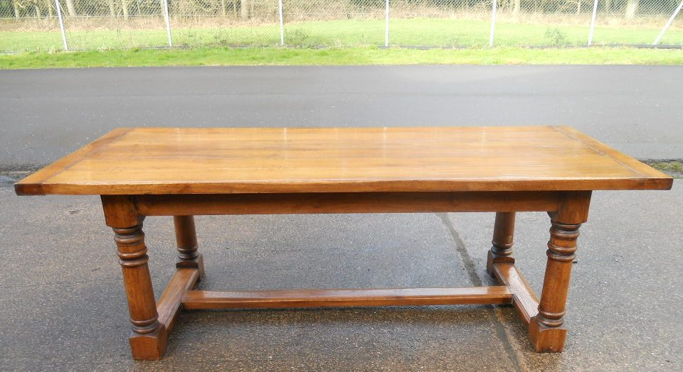 Farmhouse Style Oak Refectory Dining Table and Eight Matching Oak Dining Chai
