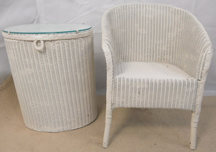 Lloyd loom armchair laundry basket sold for H furniture loom chair