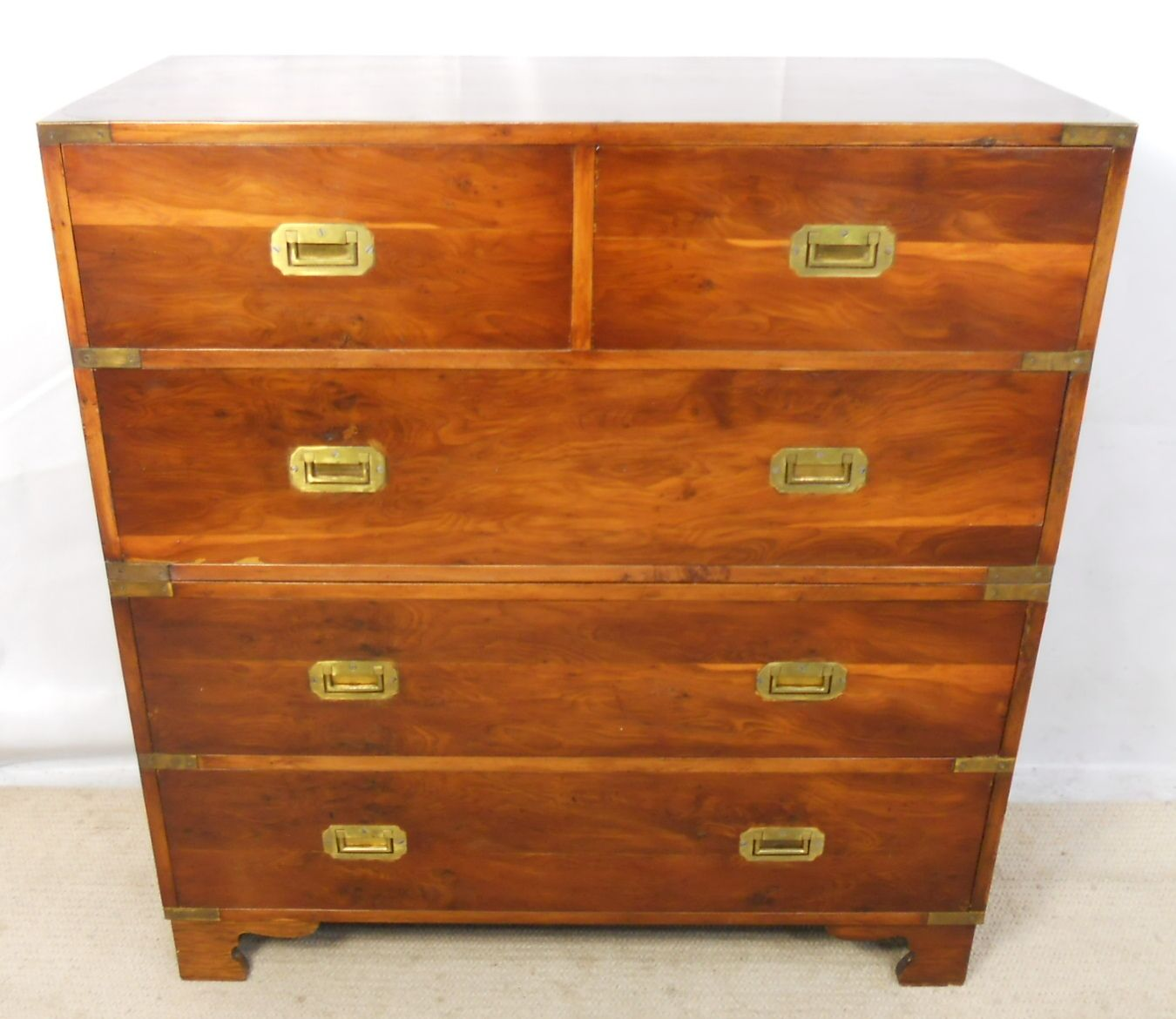Military Style Yew Wood Chest of Drawers SOLD