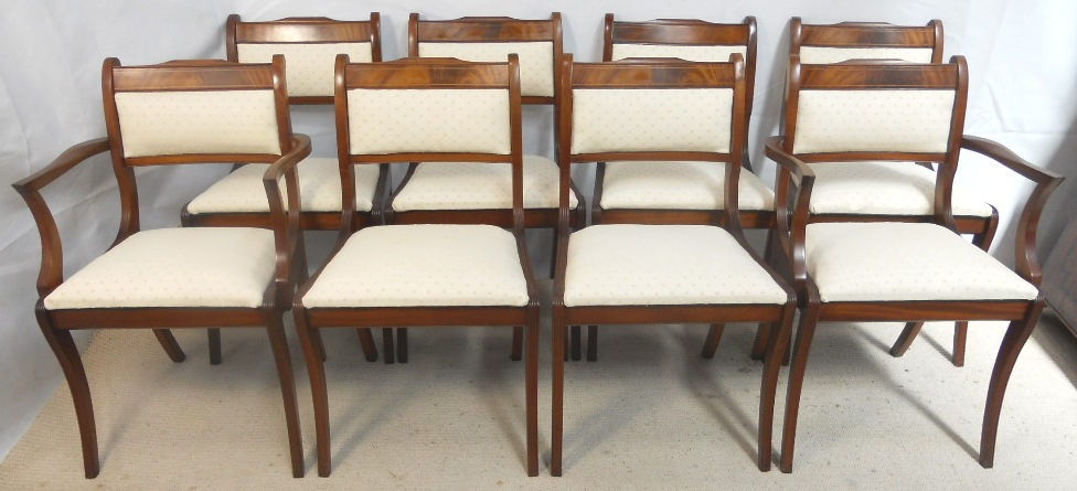 Set Of Eight Mahogany Upholstered Dining Chairs In The Regency Style SOLD