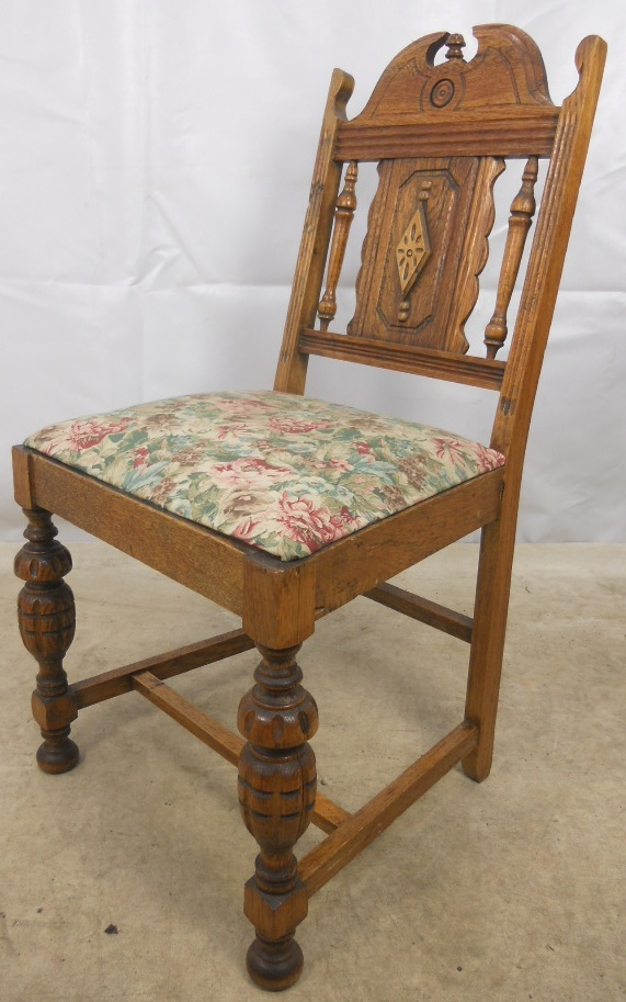 set of four antique style carved oak dining chairs sold