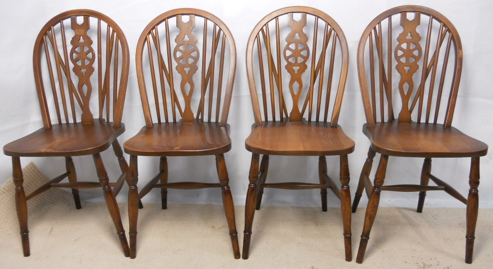 Set Of Four Wheelback Kitchen Dining Chairs SOLD