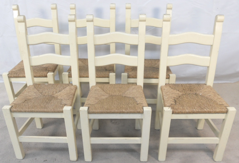 Set of Six Painted Wood Ladderback Rush Seat Kitchen  : set of six painted wood ladderback rush seat kitchen dining chairs sold 1563 p from www.harrisonantiquefurniture.co.uk size 976 x 669 jpeg 224kB