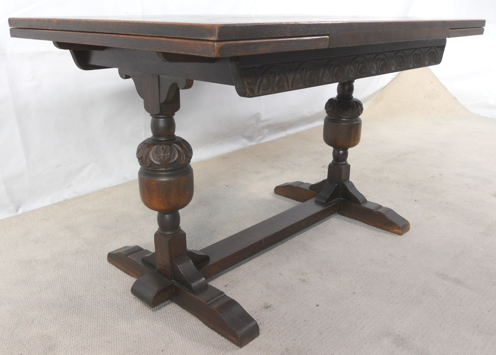 SOLD Antique Jacobean Style Oak Drawleaf Refectory Dining Table To Seat Eight