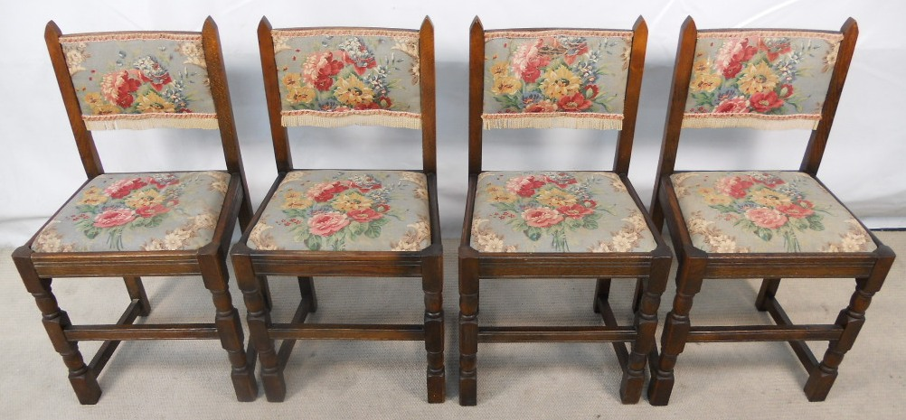 ... Oak Country Look Dining Chairs with Floral Upholstered Seats & Backs