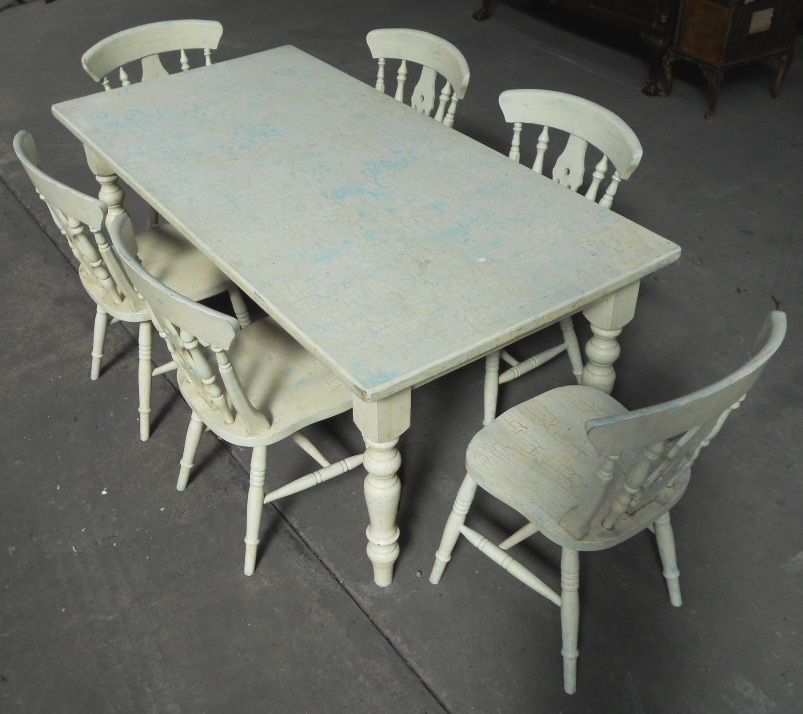Victorian Style Painted Kitchen Table Matching Six Chairs